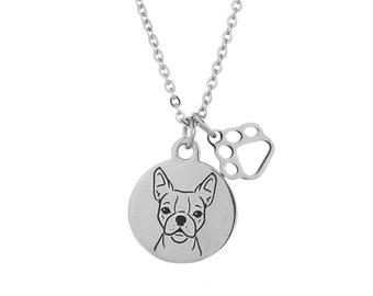 Boston Terrier Charm Necklace, Stainless Steel Boston Terrier Necklace, Boston Terrier Jewelry, Boston Terrier Gift