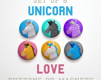 Fairytale Gift, Unicorn Gifts for Girls Gift, Cute Unicorn Gift for Her 6 Unicorn Buttons 1 inch or Unicorn Magnets Unicorn Pins