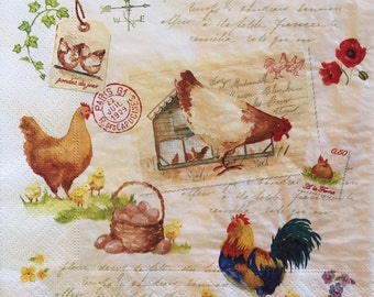 """3 Decoupage Napkins, Country Life Rooster Hen, 13"""" x 13"""""""