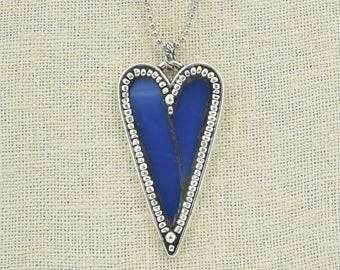 Blue Stained Glass and Silver Seed Bead Heart Pendant Necklace