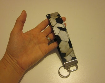 KEY FOB Designer One-of-a-kind Hands Free Wristlet Key Chain Soccer Balls