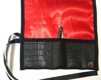 alligator faux 5 straight razor pouch travel case
