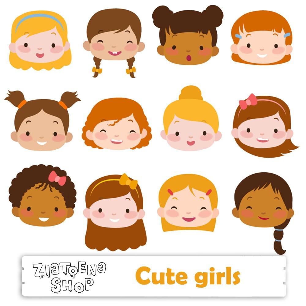 Cute Girl Faces clipart Kids Faces Digital Clipart Cute ...