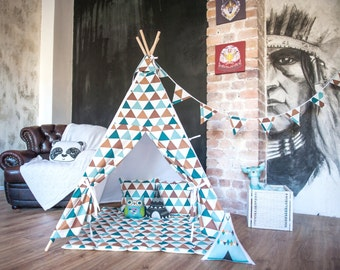 "FREE SHIPPING teepee ""Turquoise-coffee triangles"", kids teepee play tent wigwam, playtent, tipi, wigwam, kids teepee, tent, play teepee"