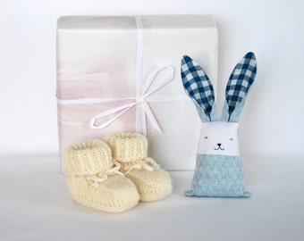 Baby boy gift set, merino wool booties, bunny rabbit, pregnancy announcement, pregnancy reveal, gift for new mom, baby shower present