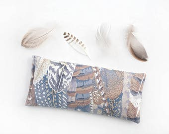Lavender Eye Pillow, Feathers, Yoga Prop, Eye Pillow, Spa Gift, Sleep Aid, Organic flax pillow, Relaxation, Savasana, Meditation
