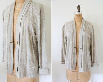 Vintage Linen Cotton Blend Striped Taupe Cardigan // Shawl Collar Beige  Open Sweater Cardigan
