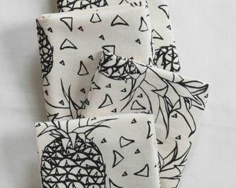 Cloth Napkins - Set of 4 - Organic Cotton - Cotton Napkin Set - Pineapples - Unpaper Towels - Eco Friendly Table Setting - Organic Napkins