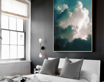 Extra Large Wall Art, Cloud Painting, Abstract Art, Large Abstract Painting, Aqua Green Grey White Cloudscape Art by CORINNE MELANIE ART