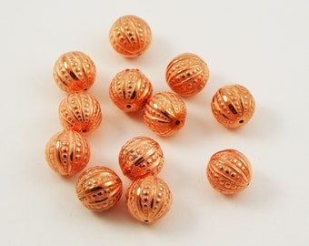 Copper Beads Embossed and Fluted Rounds - 12 beads 14 & 15mm