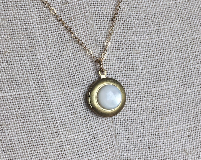 Featured listing image: Moonstone and 14k Gold Essential Oil Diffuser Necklace - Unique Aromatherapy Oils - Brass Locket Charm - Moon Stone Crystal Chain Jewelry