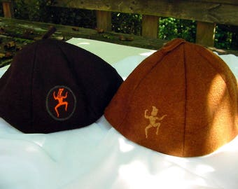 Official Brownie Scout Beanies, Price Is For Two, One Is From The 1950s And One Is From The 1960s, Brown Felt Material With Brownie Logos