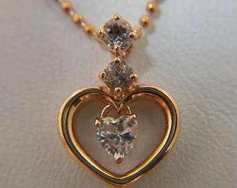 Necklace, heart > 10K, white Sapphire rose gold