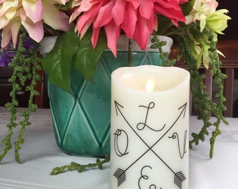 Flameless Candle - Crossed Arrows - Pillar Candle - LED Candle - Love Arrow - Housewarming Gift - Flameless Candles with Timers