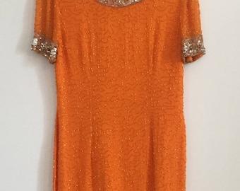 Tangerine Sequin and Beaded Dream Dress
