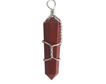 Wire Wrapped Red Jasper Point Pendant - Faceted red jasper, Crystal healing, Root chakra, Wrapped red jasper, Base chakra, Caged red jasper
