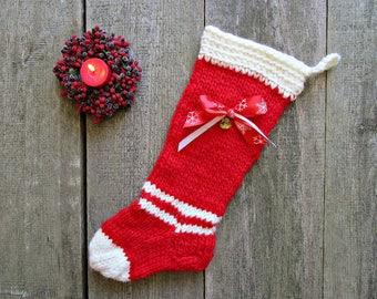 Christmas for her Christmas stocking Christmas home decor tree Present stocking Red white stocking Knit stocking Unique rustic stocking