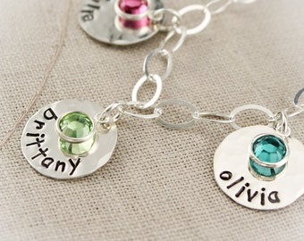 Personalized Mother Charm Bracelet with Birthstones, Grandma Charm Bracelet with Grandchildren, Mother's Day Gift, Hand Stamped Jewelry