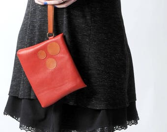 """Red leather clutch bag, handheld leather pouch with orange circles, Red and orange purse, Red leather purse, MALAM, 9x7"""" - 22x17"""