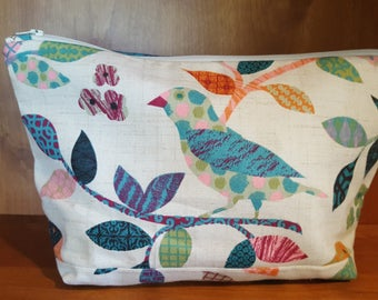 Floral Bird Zipper Pouch, Make-Up and Cosmetic Bag, Travel Bag, Electronic Case, Cord Storage, Tablet Bag, Headphone Storage