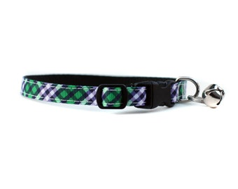 3/8 Wide Collar for Cat or Tiny Puppy in Stars in Navy and Green Plaid