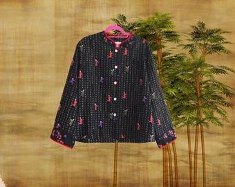 Vintage Chico's Design 100% Silk Oriental Jacket. Best fits UK size 6 - 10.