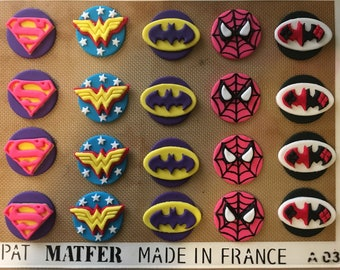 Two Dozen Girl Super Hero Fondant Cupcake Toppers-Supergirl, Wonder Woman, Bat Girl, Spider Girl, Harley Quinn