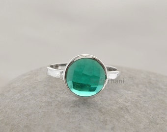 Quartz Ring-Teal Quartz Ring-Faceted Round 10mm-Wholesale Gemstone Ring-925 Sterling Silver Bezel Ring Jewelry -#1019
