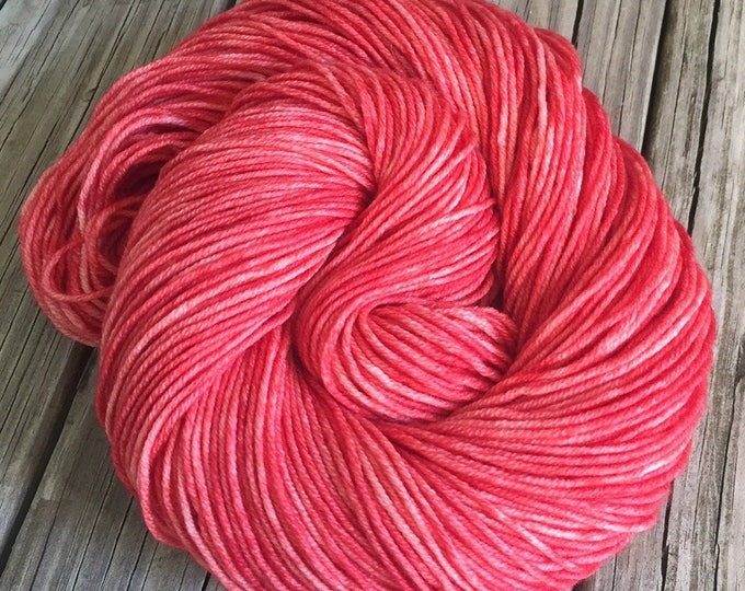 Hand Dyed DK Yarn Coral Reef Light Red Hand Painted yarn 274 yards handdyed dk sport weight Superwash Merino Wool swm coral rose red