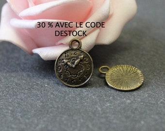 x 10 watch dial BRB41 bronze metal charms