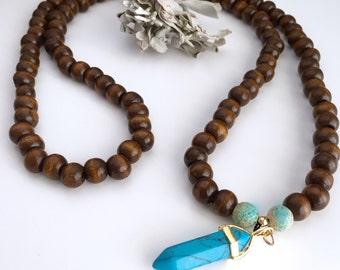 Mala Necklace, Wooden mala, Tibetan mala, Yoga mala, Meditation necklace, 108 prayer beads, Tassel Mala, Yoga Necklace, Tassel necklace,NMWC