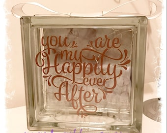 BRAND NEW Glass Block Light - You are my happily ever after   wedding   engagement   valentines   love