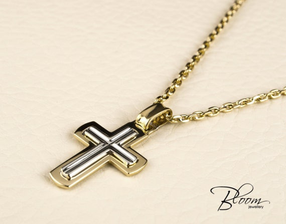 Mens cross necklace 14k white and yellow gold chain mens gold mozeypictures Image collections