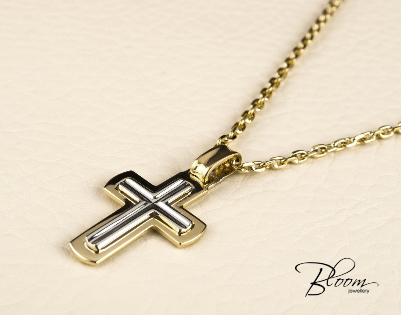 mens cross necklace 14k white and yellow gold chain mens gold