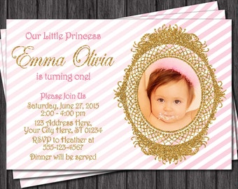 Pink and Gold Birthday Invitation - Pink & Gold Invitations