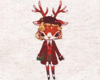 "Deer Fabric,Hand Printed Fabric,Deer With Backpacks,One Panel 6""x 6"" (15cm X 16cm) C12b"