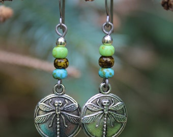 Dragonfly Earrings, Dragonfly Jewelry, Czech Glass Earrings, Dragon fly Jewelry, Nature Earrings, Dragonfly Gift, Summer Earrings, Boho