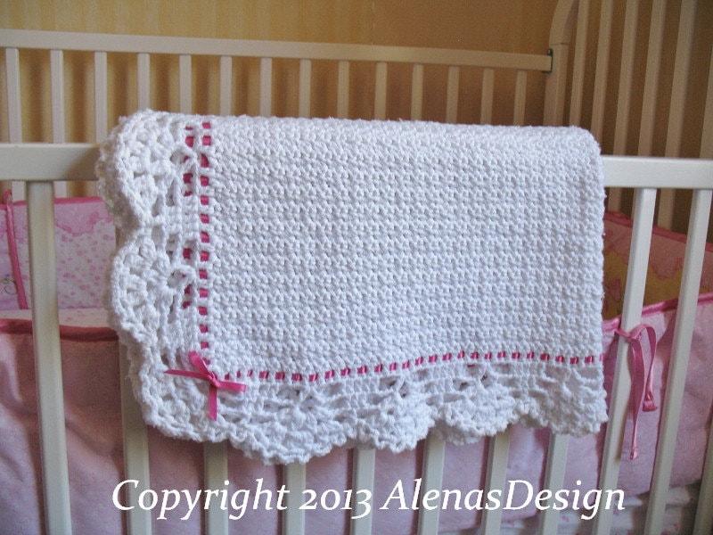 Crochet Pattern 084 Crochet Baby Blanket Lace Edging Pink Blue