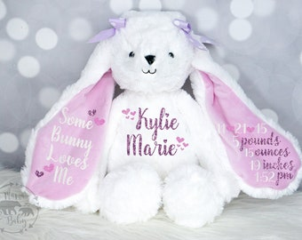 Baby Girls Birth Stat Bunny, Personalized Plush, Birth Announcement Stuffed Animal, Monogrammed Bunny, Newborn Gift, Personalized Bunny