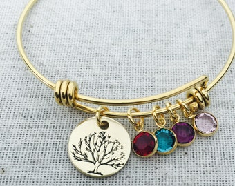 Family Tree Bangle Personalized Bracelet-Hand Stamped-Nu Gold-Mother's Jewelry-Family Bangle Bracelet-Grandma Gift-New Mom Gift-Tree Of Life