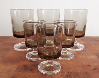 Vintage Cavalier Luminarc glasses, set of 6 glasses in 2 different sizes, Brown Glass