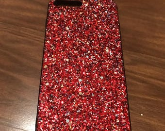 Red multicolor glitter iphone case