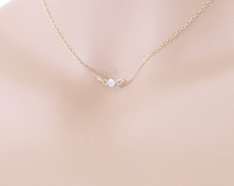 CZ Crystal Bezel Necklace, 14k Gold Filled, Wedding Jewelry, Crystal Necklace, Flower Girl Necklace, April Birthstone, Birthstone Necklace