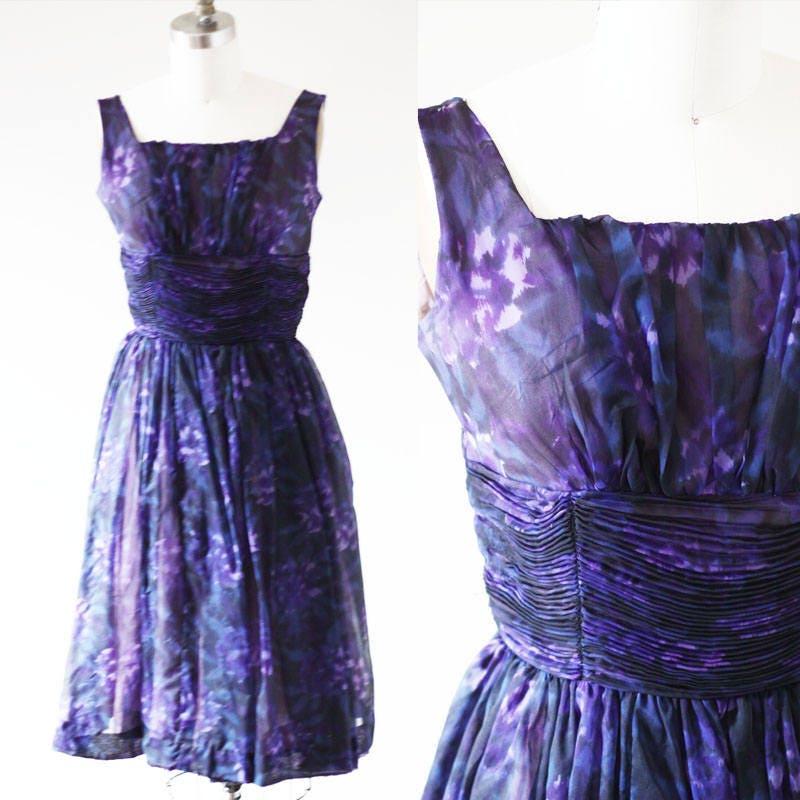 1960s Purple floral Dress // 1960s purple party dress // vintage ...