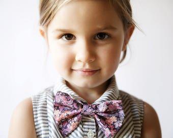 Pink Kids Bow Tie, Liberty of London Bow tie, ring bearer bow tie, ring bearer tie, toddler bow tie, purple bow tie, custom kids bow tie