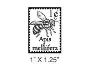 Bee Faux Postage Stamp Mail Art Rubber Stamp 170