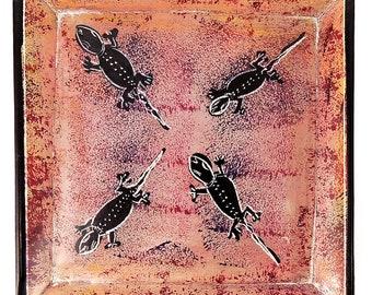 Kisii Stone Plate Lizards Square Kenya Africa 6 Inch 103397