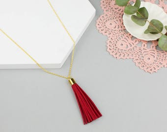 Long Red Tassel Necklace / Minimalist Tassel Necklace with Custom Length Gold or Silver Tone Chain in Ruby Red, Burgundy or Coral