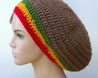 Brown slouchy hat with Rasta stripes, smaller Beret Tam, womens Hippie Hat, mens slouchy slouchy beanie hat, dreads slouchy beanie hat, man
