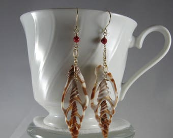 Sliced Shell Earrings- Gold Filled, Red Coral